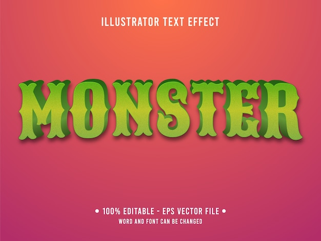 Monster editable text effect modern style with gradient green color Premium Vector
