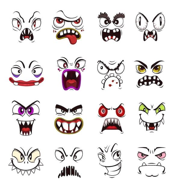怖いモンスター顔絵文字漫画セット。ハロウィーンのホラーホラーモンスター、不気味な悪魔や悪魔、邪悪な吸血鬼、不気味な笑顔、歯と怒った目を持つ幽霊と獣 Premiumベクター