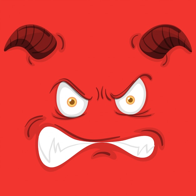 Monster face on red background Premium Vector
