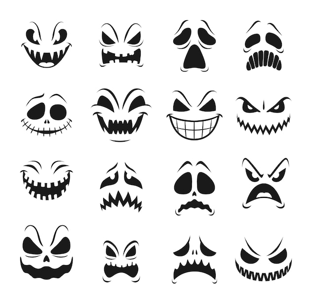 Monster faces  set of halloween horror holiday. scary emojis of angry zombie, devil and demon, ghost, vampire and alien, spooky creatures with evil eyes, teeth and creepy smiles Premium Vector