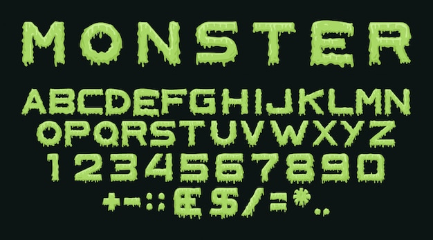Monster font effect Free Vector
