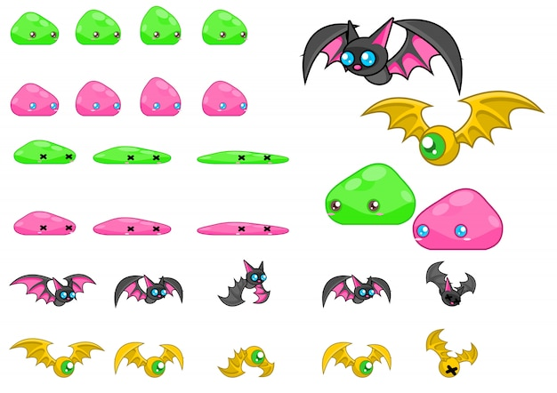 Monster game sprites Premium Vector