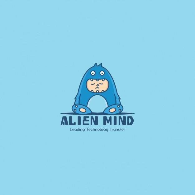 Monster logo, blue background Free Vector