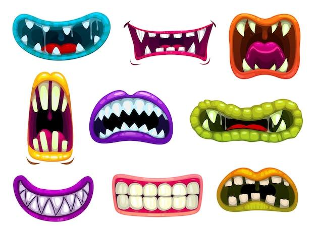 鋭い歯と舌を持つモンスターの口。 Premiumベクター