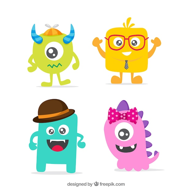 Monster pack of four Free Vector