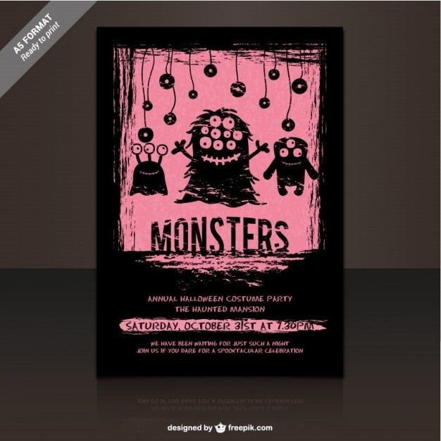 Monster Party Flyer Template Vector Free Download