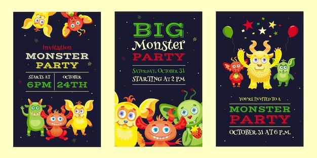 재미있는 짐승과 마스코트가있는 몬스터 파티 초대장 디자인. 어린이를위한 밝고 화려한 초대장. 축 하 및 할로윈 파티 개념입니다. 전단지, 배너 또는 전단지 템플릿 무료 벡터