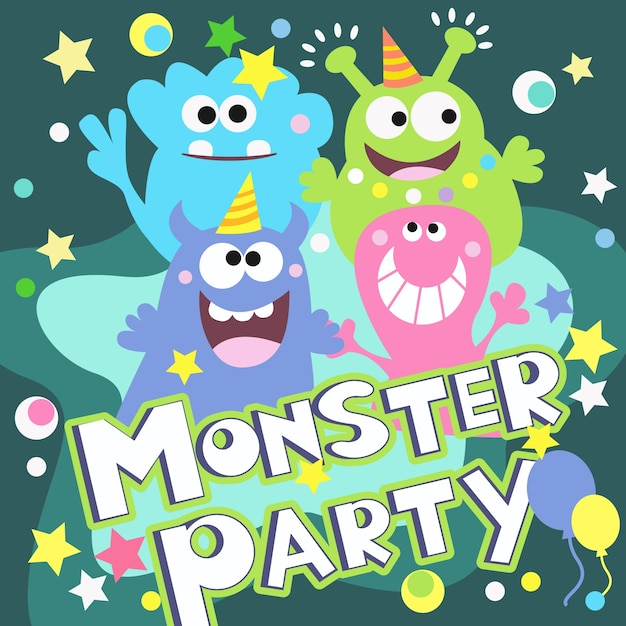 Monster party poster Free Vector