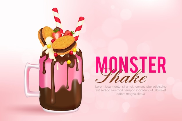 Monster shakes background Premium Vector