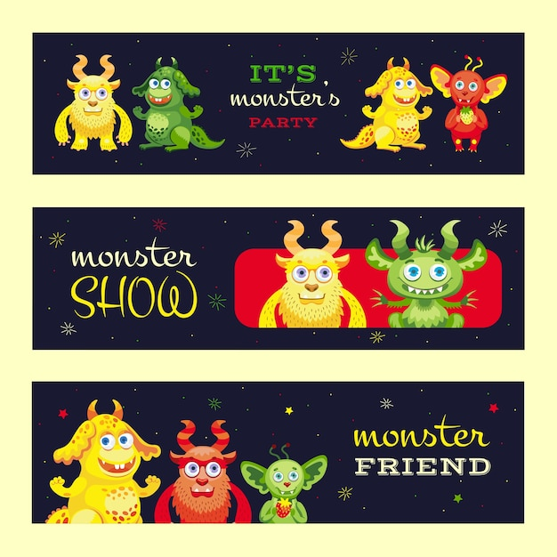 Monster show banners design for event. modern promotional flyer with funny beast characters. celebration and monster party concept. template for poster, promotion or web design Free Vector