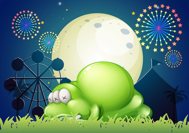 A monster sleeping at the carnival Premium Vector