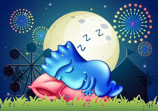 A monster sleeping above the pillow at the amusement park Free Vector