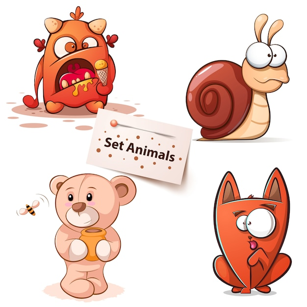 Monster, snail, bear cat - cartoon characters Premium Vector