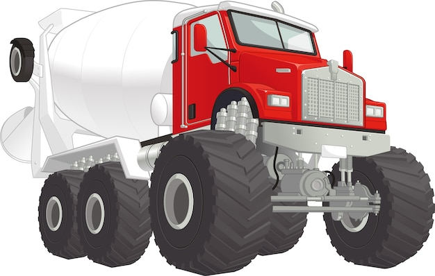 モンスタートラック-セメントミキサー Premiumベクター