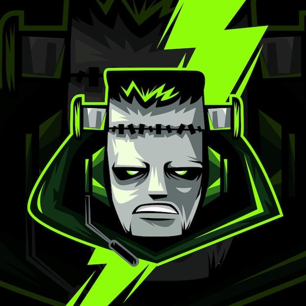Monster or zombie head for halloween mascot logo isolated on dark Premium Vector