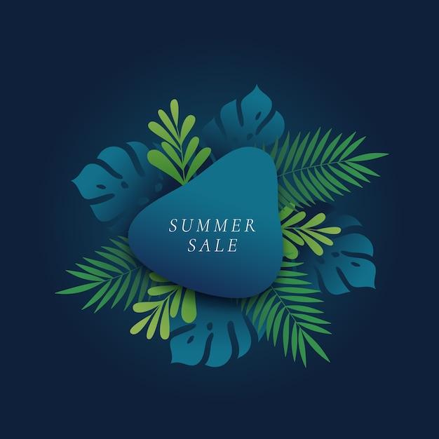 Карта летней распродажи с тропическими листьями и тропическими листьями монстера и папоротник или шаблон баннера Бесплатные векторы