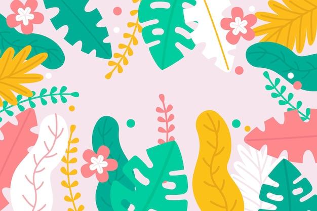 Монстера и пальмовые листья фон Бесплатные векторы