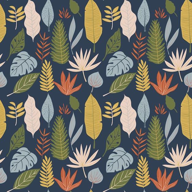 Монстера, банановый лист, листва бесшовный фон Premium векторы