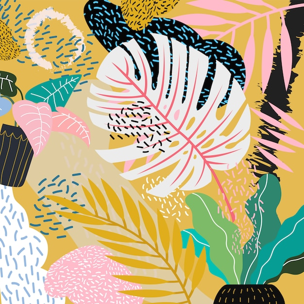 Monstera leaves abstract print pattern Premium Vector