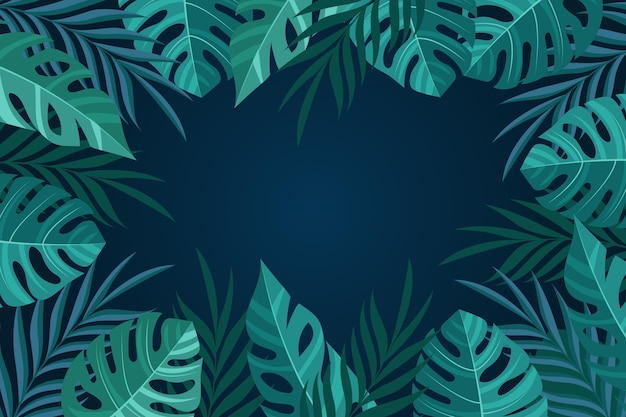 Monstera leaves copy space background for video communication Free Vector