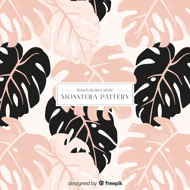 Monstera leaves pattern Free Vector