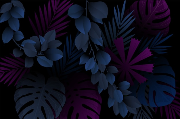 Monstera and leaves realistic dark tropical background Premium Vector