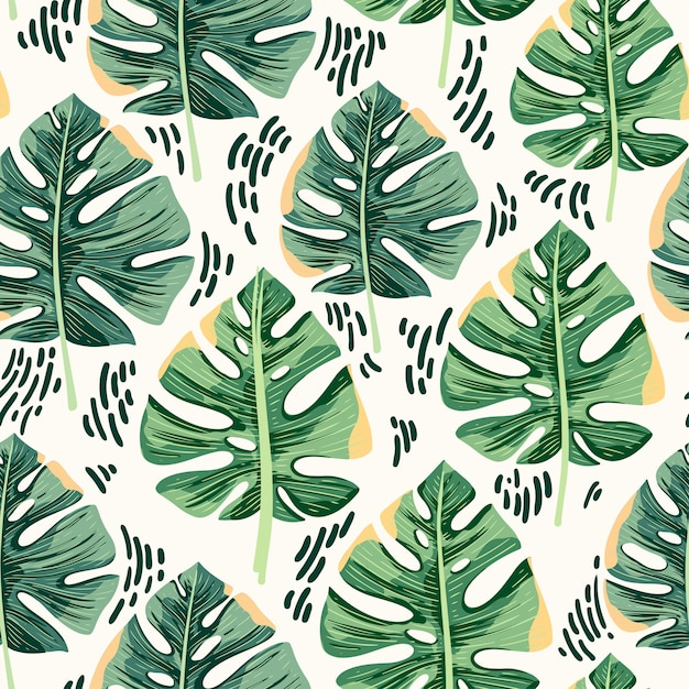 Monstera leaves seamless pattern background Premium Vector