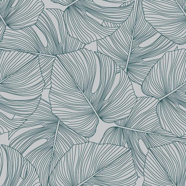 Monstera leaves seamless pattern. tropical pattern, botanical leaf Premium Vector