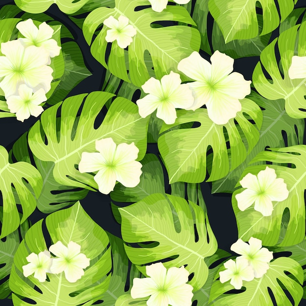 Monstera palm leaves pattern and hibiscus flowers Free Vector