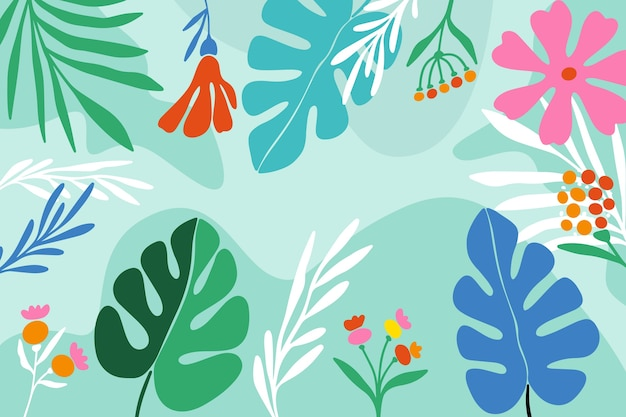 Monstera plant leaves floral background Free Vector