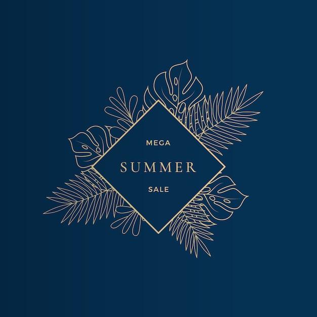 Monstera 열대 잎 여름 판매 카드 또는 배너 템플릿 무료 벡터