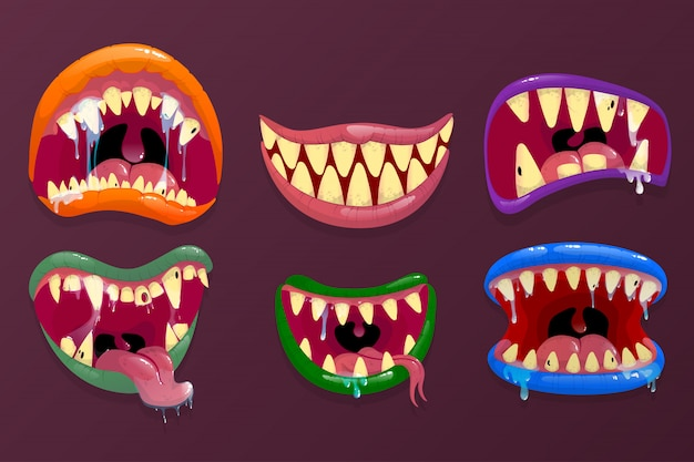 Monsters mouths. funny facial expression, open mouth Premium Vector