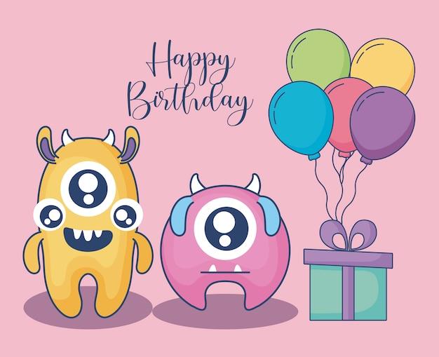 Монстры с воздушными шарами гелием и подарочная открытка на день рождения Premium векторы