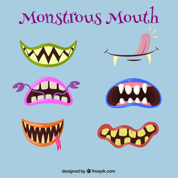 Monstrous mouths Free Vector