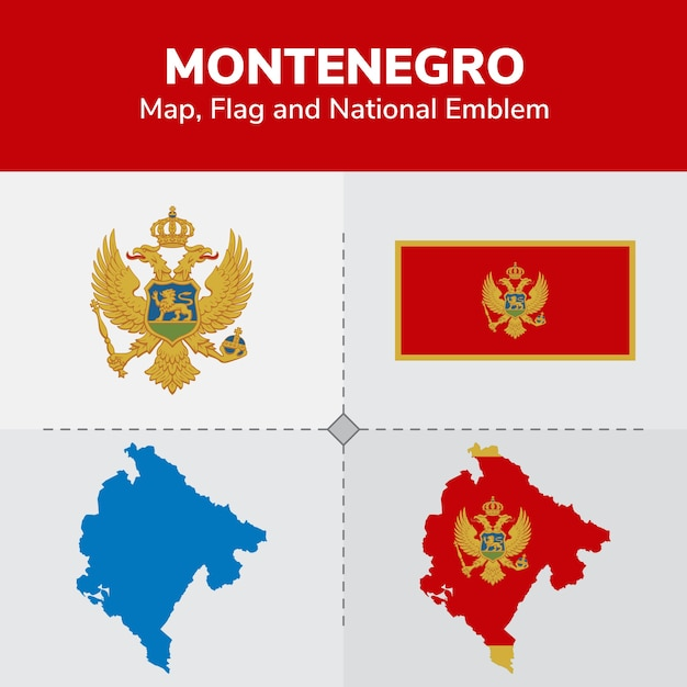 Montenegro Map Flag And National Emblem Vector Premium Download - Montenegro map download