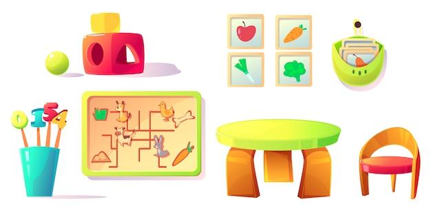 Монтессори, оборудование для детских садов, игрушки, материалы Бесплатные векторы