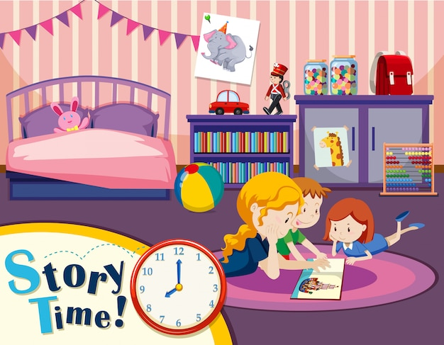 Monther and children in bedroom Premium Vector
