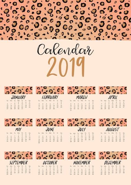 Monthly calendar 2019 with leopard skin Premium Vector