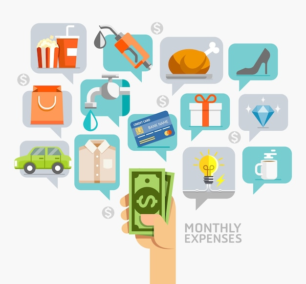 Monthly expenses conceptual flat style Premium Vector