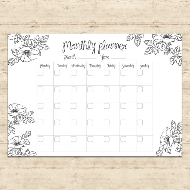 Monthly Planner Design Vector Free Download