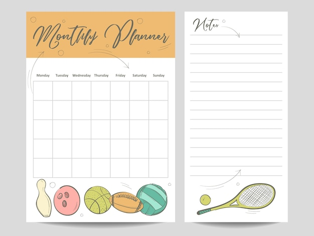 Monthly planner and page for notes template Premium Vector
