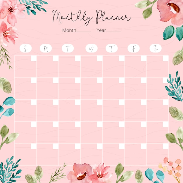 Monthly planner with watercolor floral frame Premium Vector