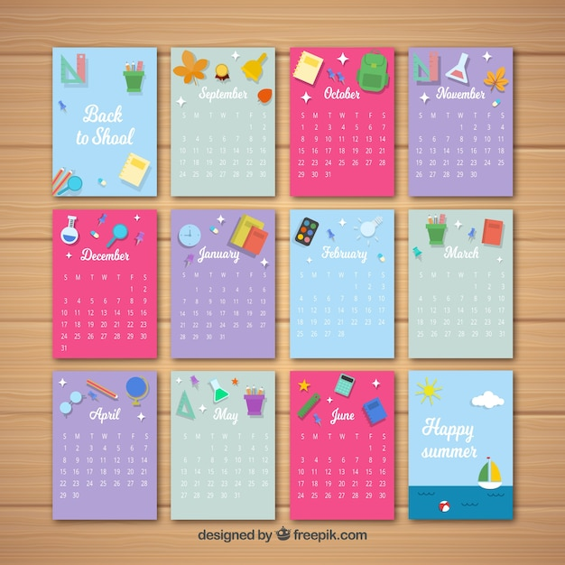 Monthly school calendar with colorful style