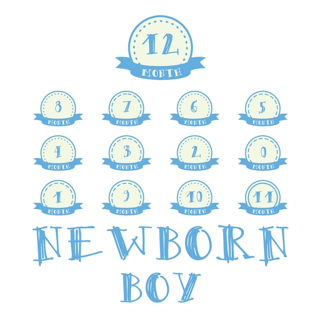 Monthly stickers with ribbon for photo. boy labels for baby happy birthday design Free Vector