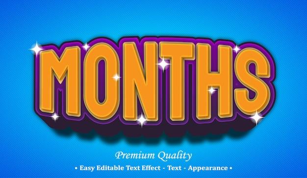 Months 3d editable text style effect Premium Vector