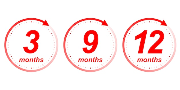 Months clock arrow Premium Vector
