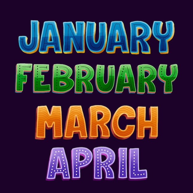 Months lettering collection Free Vector