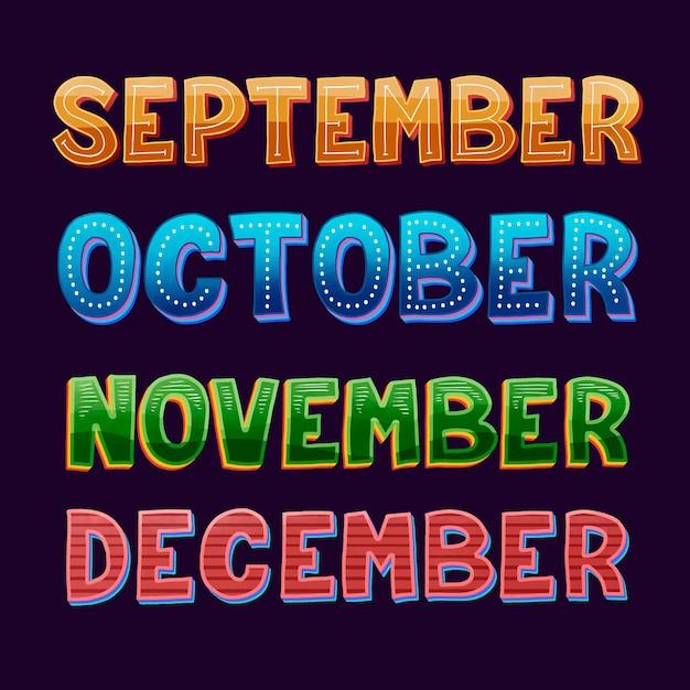 Набор надписей месяцев Бесплатные векторы