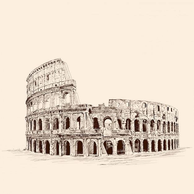 Памятник итальянской архитектуры колизей. карандашный рисунок на бежевом фоне. Premium векторы