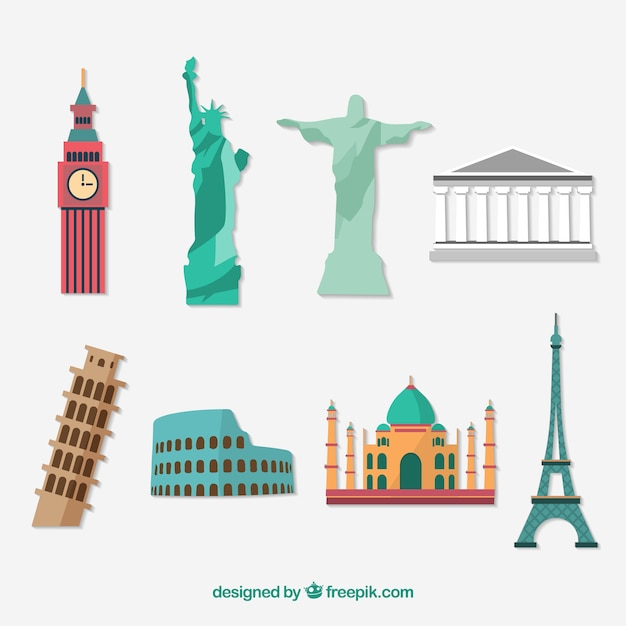 Monuments flat icon set Free Vector